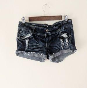 Blue Asphalt Distressed Dark Wash Jean Shorts